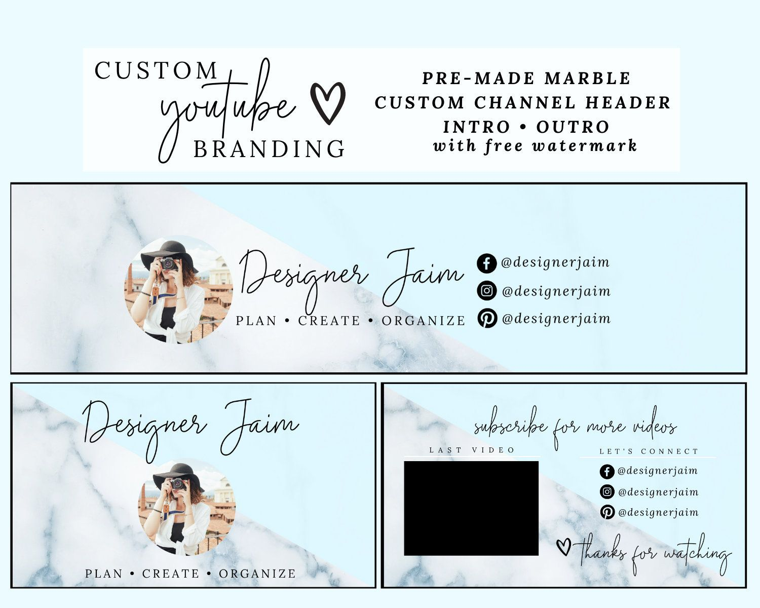 YouTube Banner, Personalized YouTube, YouTube End Slate, YouTube Intro Slate, YouTube Cover | Custom YouTube Package, Branding, Channel Art