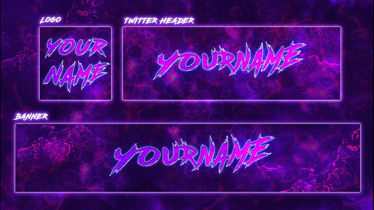 Youtube Banner Template Purple